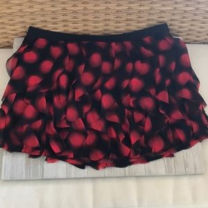 Black with red circles ruffled skirt